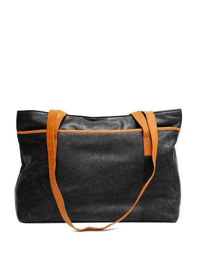 Ashlin Melia Colourblock Tuscany Leather Tote-BLACK-One Size
