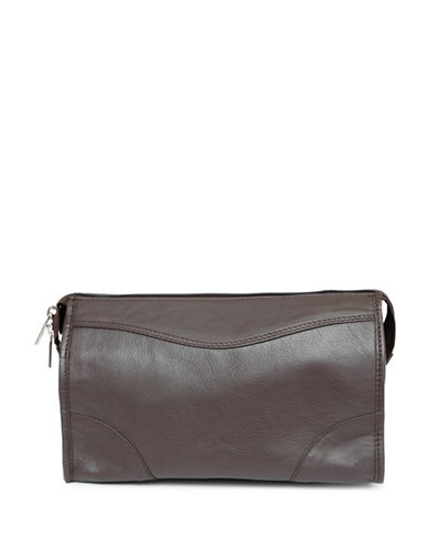 Ashlin Leather Toiletry and Dopp Kit-BROWN-One Size