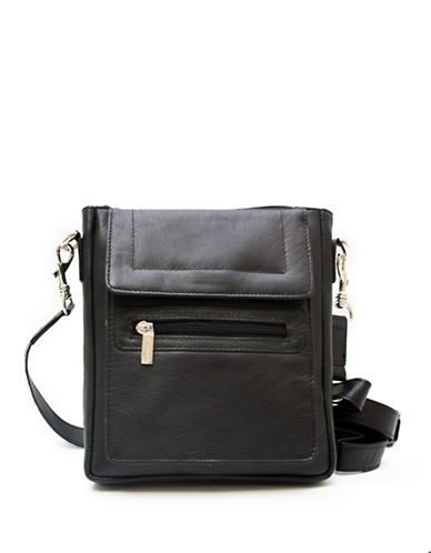 Ashlin Taysha Crossbody Flapover Leather Satchel-BLACK-One Size