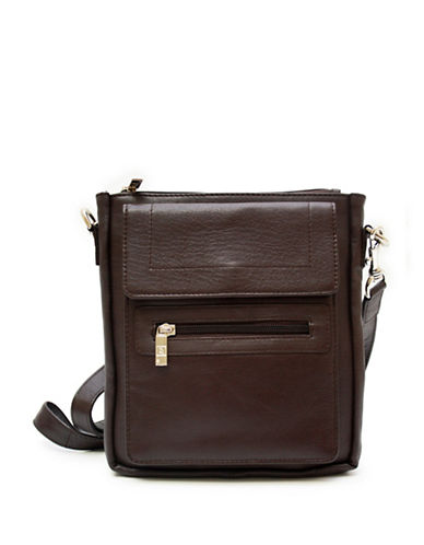 Ashlin Taysha Crossbody Flapover Leather Satchel-CHOCOLATE-One Size
