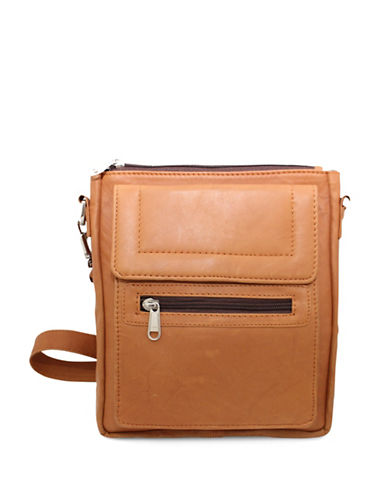 Ashlin Taysha Crossbody Flapover Leather Satchel-BROWN-One Size