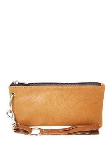 Ashlin Destiny Leather Wristlet-BROWN-One Size