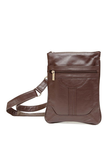Ashlin Dorothy Leather Slim Crossbody Bag-BROWN-One Size