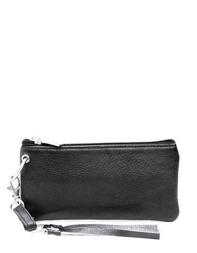 Ashlin Detachable Strap Leather Wristlet-BLACK-One Size