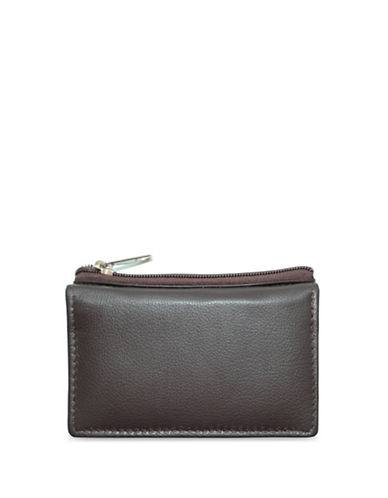 Ashlin Mini Leather Change Purse-BROWN-One Size