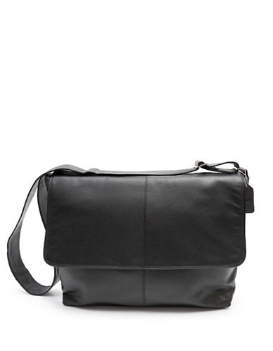 Ashlin Fredrick Classic Leather Messenger Briefcase-BLACK-One Size