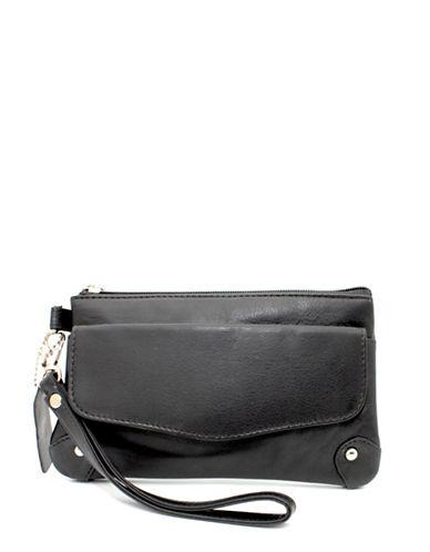 Ashlin Catarine Leather Wristlet-BLACK-One Size