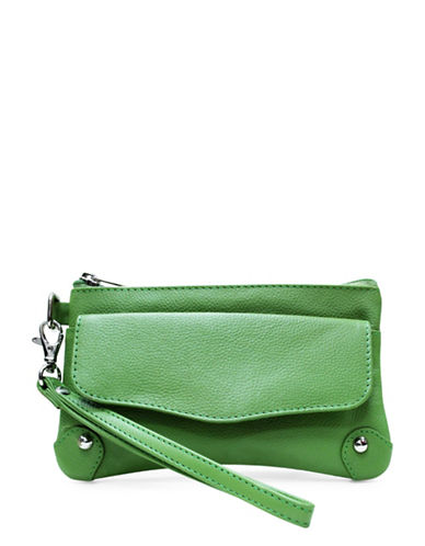 Ashlin Catarine Leather Wristlet-GREEN-One Size