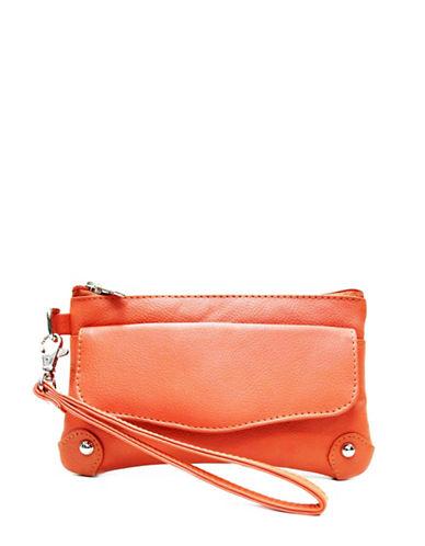 Ashlin Catarine Leather Wristlet-ORANGE-One Size