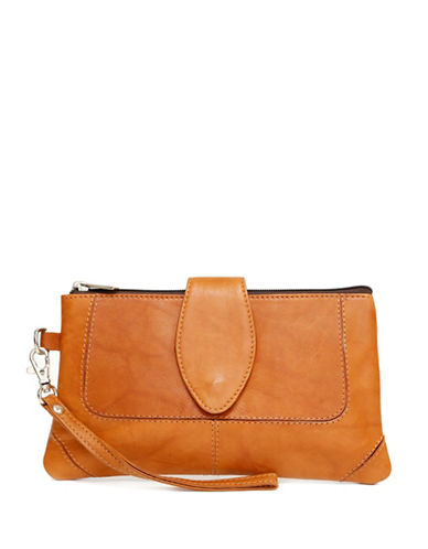 Ashlin Natasha Leather Wristlet-BROWN-One Size