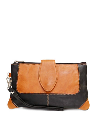 Ashlin Colourblock Natasha Leather Wristlet-BLACK-One Size