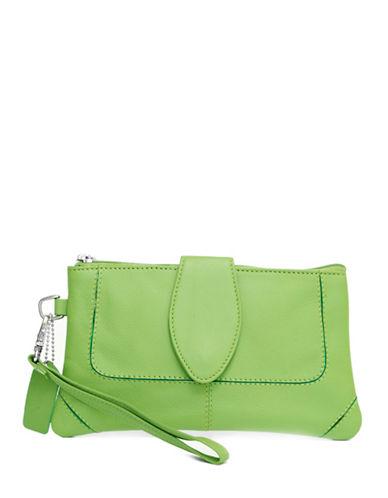 Ashlin Natasha Leather Wristlet-GREEN-One Size