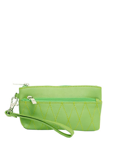 Ashlin Eliane Quilted Leather Wristlet-GREEN-One Size