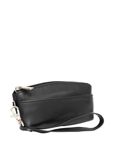 Ashlin Genesia Textured Leather Wristlet-BLACK-One Size