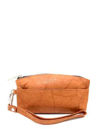 Ashlin Genesia Textured Leather Wristlet-BROWN-One Size