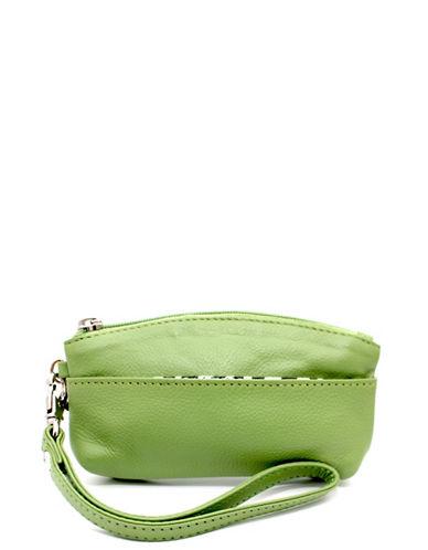 Ashlin Genesia Textured Leather Wristlet-GREEN-One Size