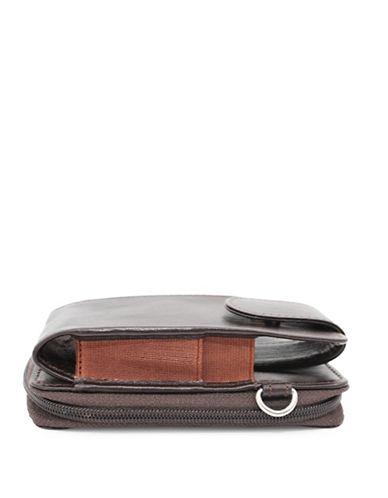 Ashlin Alexa Leather Phone Accordion Wallet-CHOCOLATE-One Size