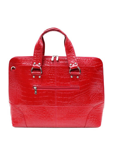 Ashlin Kellin Croc-Embossed Briefcase-RED-One Size