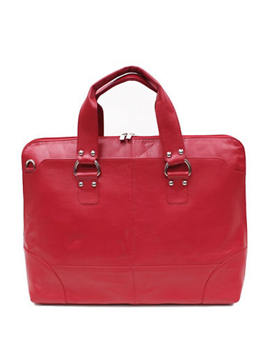 Ashlin Kellin Natural Milled Leather Briefcase-RED-One Size