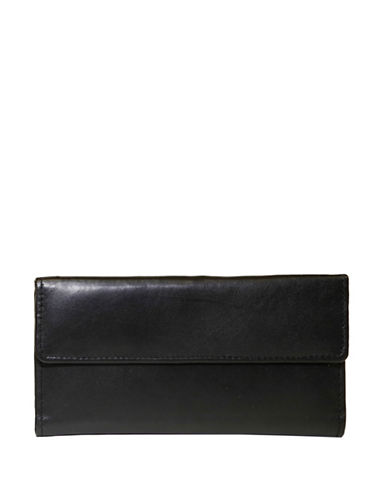 Ashlin Redgrove RFID Blocking Slim Lambskin Nappa Clutch Wallet-BLACK-One Size