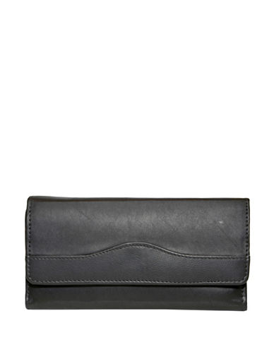 Ashlin Blondelle RFID Blocking Cheque Mate Leather Wallet-BLACK-One Size