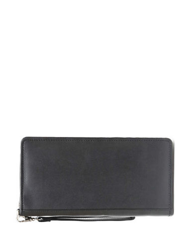 Ashlin Monaco RFID Blocking Zippered Leatherette Travel Wallet-BLACK-One Size