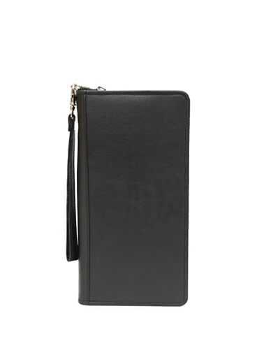 Ashlin Monaco RFID Blocking Zippered Leather Travel Wallet-BLACK-One Size