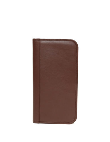 Ashlin Travel and Passport Bi-Fold Leather Wallet-BROWN-One Size