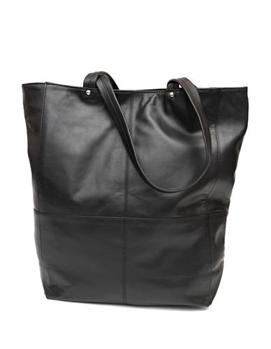 Ashlin Gianina Textured Leather Large Tote-BLACK-One Size