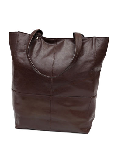 Ashlin Gianina Textured Leather Large Tote-BROWN-One Size