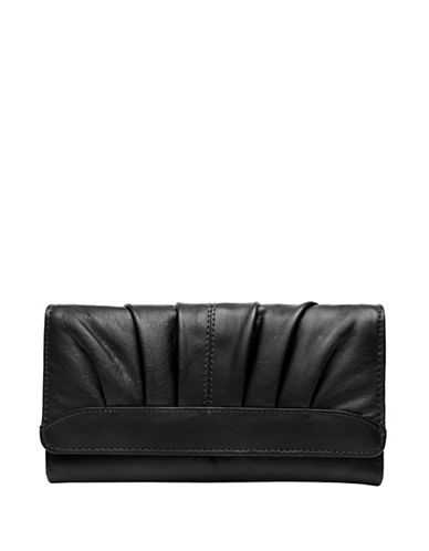 Ashlin Devonne Leather Tri-Fold Wallet-BLACK-One Size