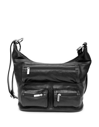 Ashlin Evelyn Retro Leather Slouch Bag-BLACK-One Size