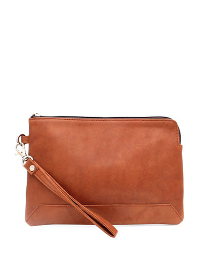 Ashlin Kayleigh Tuscany Leather Wristlet-BROWN-One Size