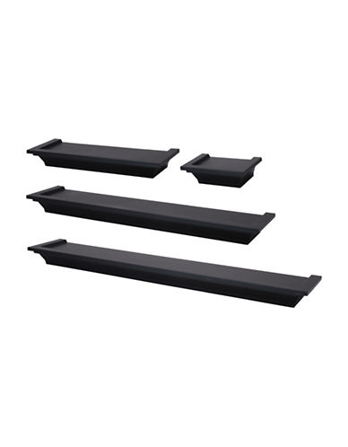 Home Outfitters Four-Piece Classic Ledge Set-BLACK-One Size