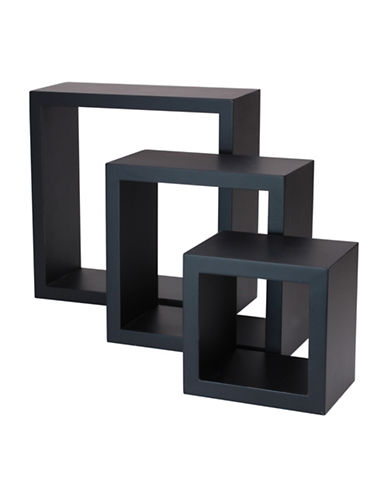 Home Outfitters Cubbi Three-Piece Wall Shelves-BLACK-One Size