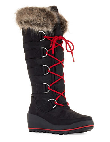 Cougar Lace-Up Faux-Fur Wedge Boots-BLACK-7