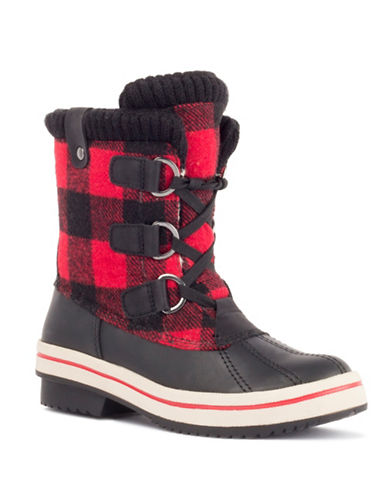London Fog Suede Winter Boots-RED PLAID-6
