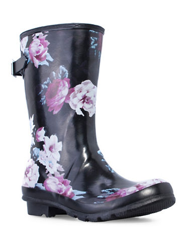 London Fog Hadley Floral Rubber Rainboot-PLATINO-9