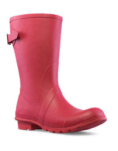 London Fog Hadley Mid Calf Rubber Rainboot-RED-8