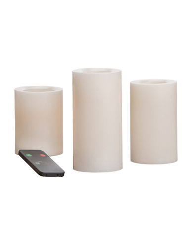 Candle Impressions Real Wax Pack of Three LED Scented Pillars-NATURAL-One Size