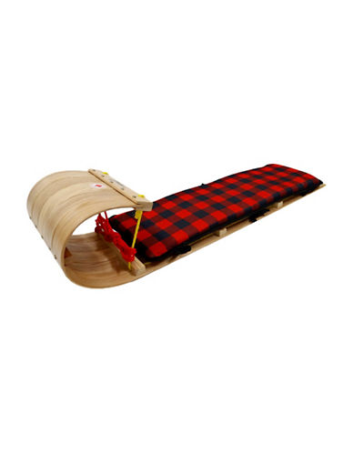 Streamridge Grizzly Four-Foot Hardwood Toboggan and Plaid Pad Set-BEIGE-One Size