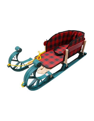 Streamridge Alpine Kinder Sleigh and Belted Plaid Pad Set-RED-One Size