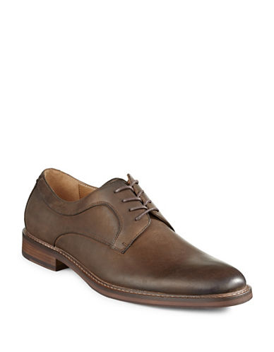 Pegabo Leather Lace-Up Dress Shoes-BROWN-EU 43.5/US 10.5