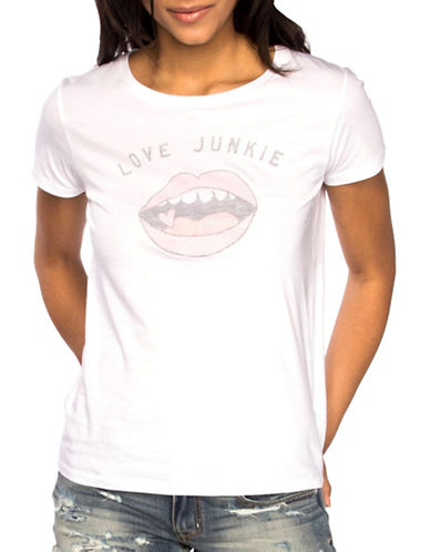 Chrldr Love Junkie Cotton Tee-WHITE-Large
