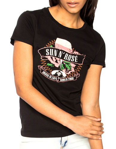 Chrldr Sun N Rose T-Shirt-BLACK-X-Small