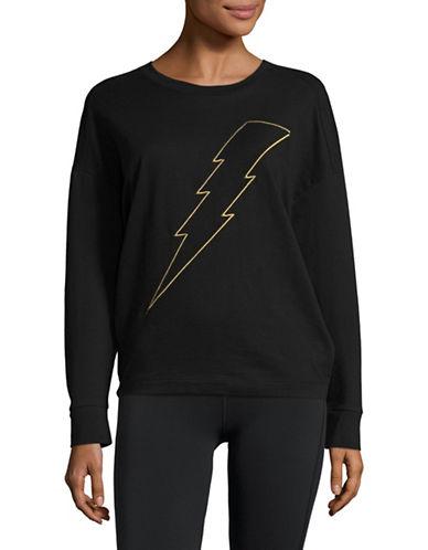 Chrldr Lightning Bolt Cotton Sweatshirt-BLACK-Medium