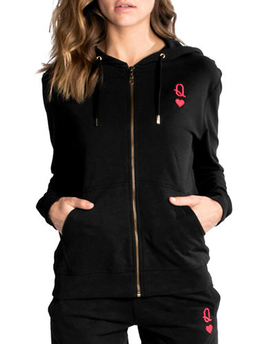 Chrldr Queen Of Hearts Cotton Hoodie-BLACK-Large