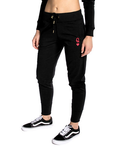 Chrldr Queen Of Hearts Mid-Rise Cotton Sweatpants-BLACK-Large