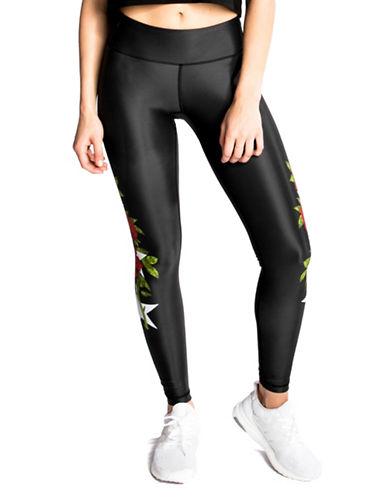 Chrldr Stars and Roses Elasticized Leggings-BLACK-Large