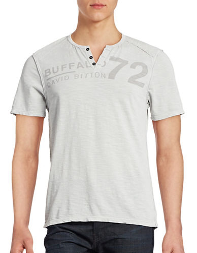 Buffalo David Bitton Henley Logo T-Shirt-CHARLIE-Large